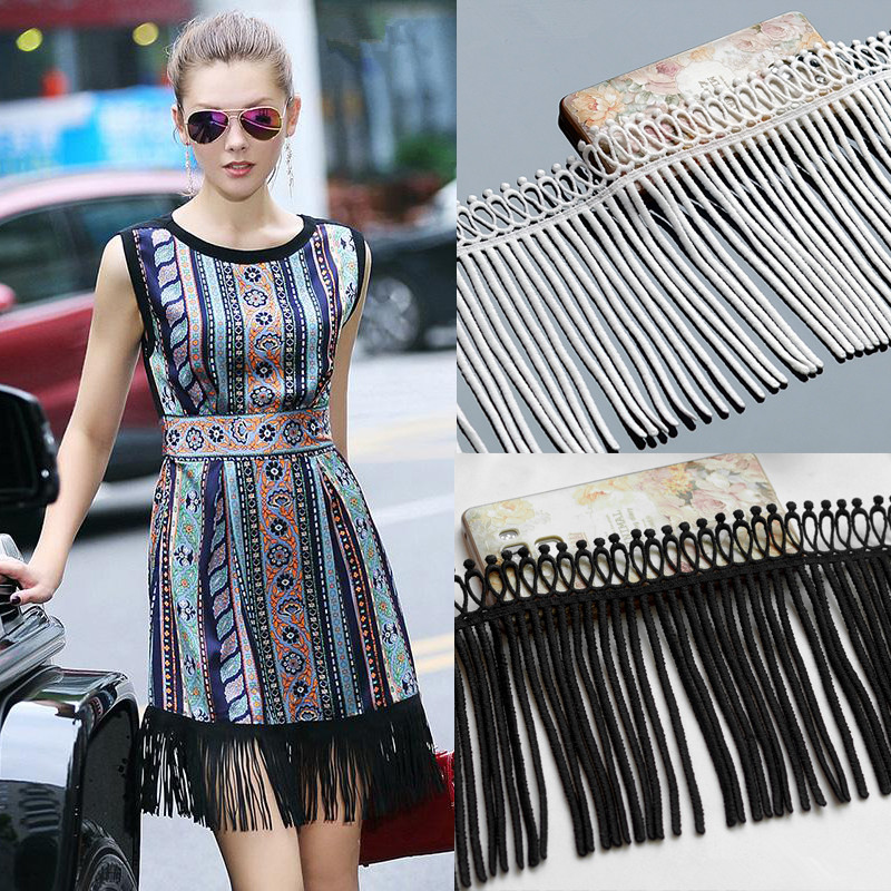 1Meter Milk Tassel Lace Handmade DIY Clothes Skirts T-shirts Lengthened Decorations Black White.