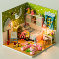 handmade DIY wooden building mold children house toy.asseble doll house with light and playdough