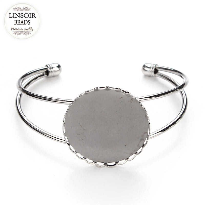 1PC 30mm Silver Color Round Bangle Trays Bracelet Base Blank Tray Bezel Setting Cabochon Cameo Base for Jewelry Making F3088