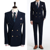 Men S Plus Size Double Breasted Business Casual Slim Suits Jacket Men S Formal Wedding Dress