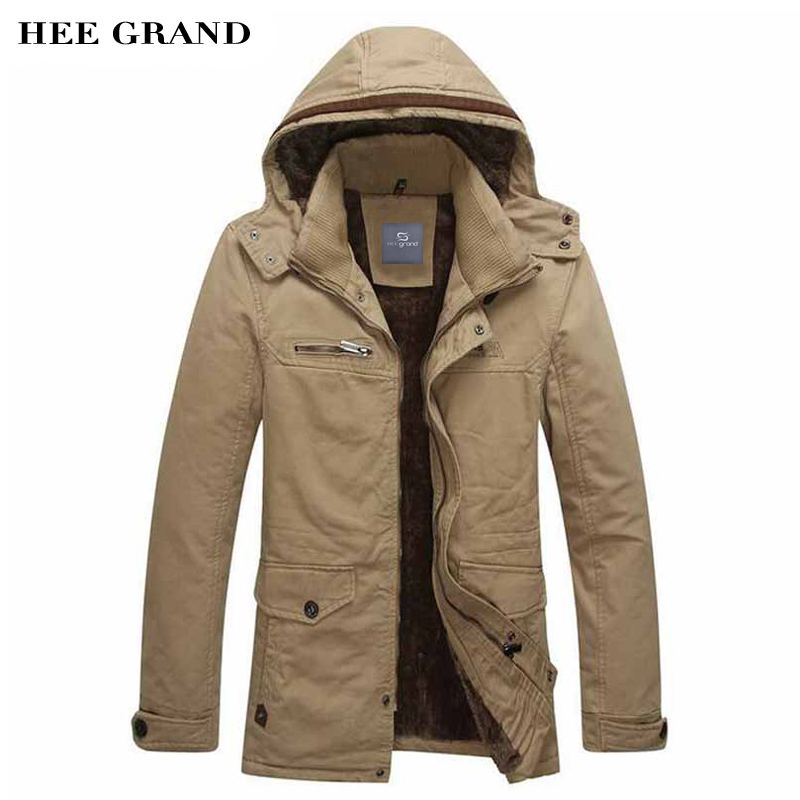 Hee Grand/Для мужчин зимние толстые куртки Мужские парки Повседневное Стиль теплый мягкий средней длины стрейч зимнее пальто Высокое качество ...