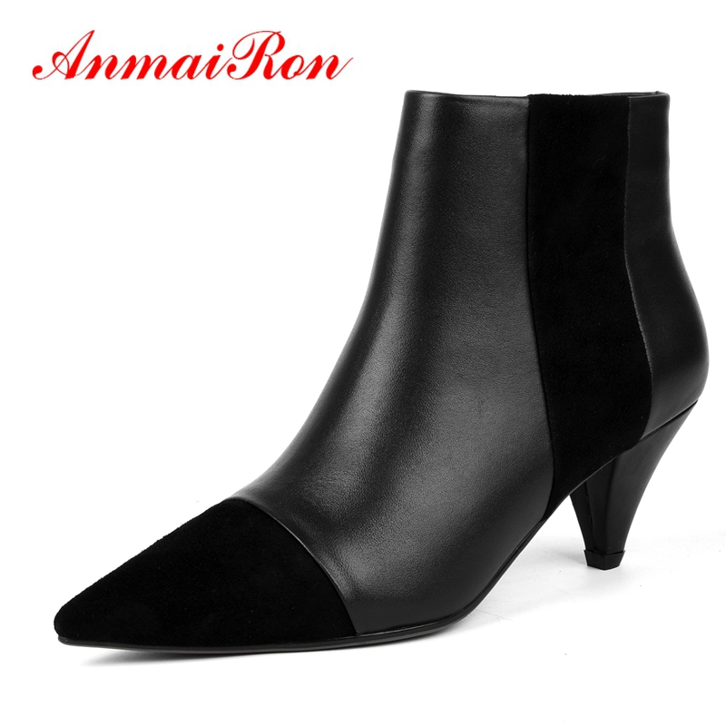 ANMAIRON  Basic  Pointed Toe  Shoes Woman  Zip  Ankle Boots for Women  Zapatos De Mujer  Shoes Woman Size 34-39 LY184ANMAIRON  Basic  Pointed Toe  Shoes Woman  Zip  Ankle Boots for Women  Zapatos De Mujer  Shoes Woman Size 34-39 LY184