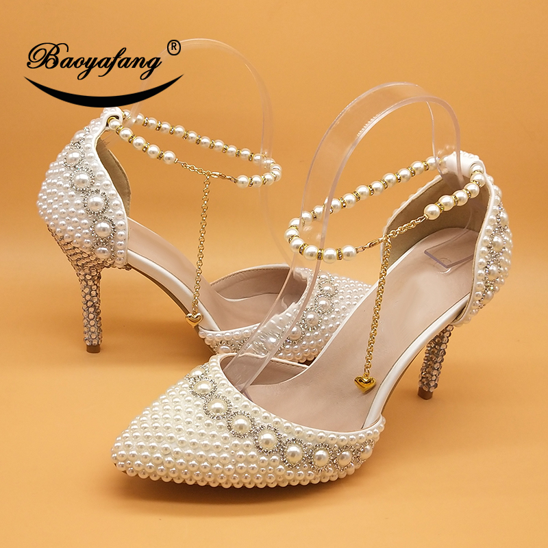 White/Beige/Royal Blue/Fuschia Pearl Wedding Shoes Bride High Heels Pointed Toe Pumps Ladies Party Shoes Ankle Strap Shoe