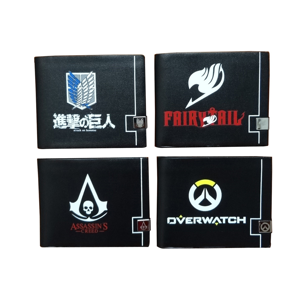 Fashion Men Wallets billetera hombre Anime Attack on Titans Fairy Tail Assassins Creed Overwatch LOGO Print Purse Leather Wallet майка print bar titans gym