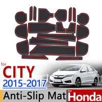 for Honda City 2015 2017 Anti Slip Rubber Cup Cushion Door Groove Mat 2016 GM6 Accessories Car Styling Sticker