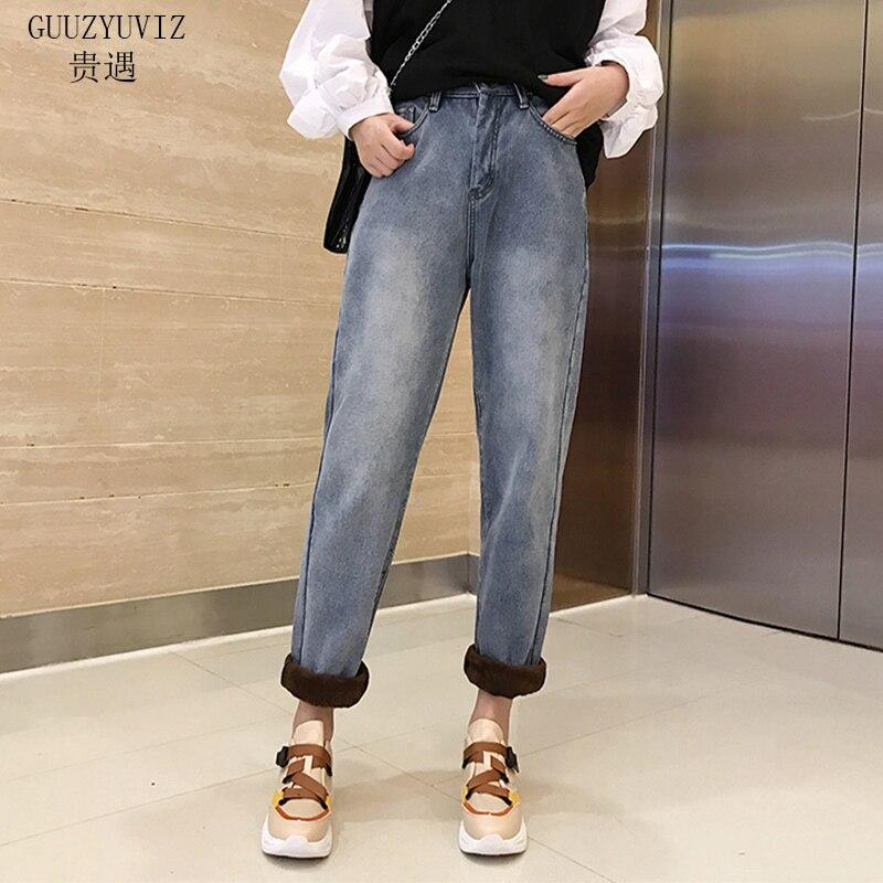 GUUZYUVIZ теплые бархатные джинсы женские Осень Зима плюс размеры повседневное джинсовые штаны Mujer Винтаж джинсы для женщин джинсы с высокой та...