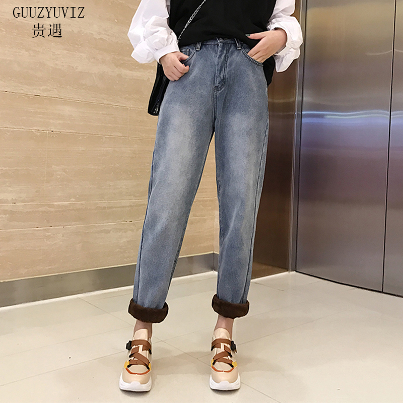 GUUZYUVIZ Warm Thicken Velvet Jeans Woman Autumn Winter Plus Size Casual Denim Pants Mujer Vintage Jean Taille Haute Femme