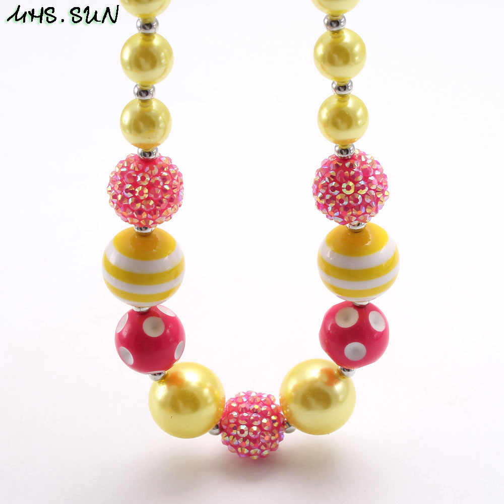 MHS.SUN lovely chunky bubblegum beads necklace for girls kids gift diy handmade baby imitation pearl necklace & bracelet 1pc/lot