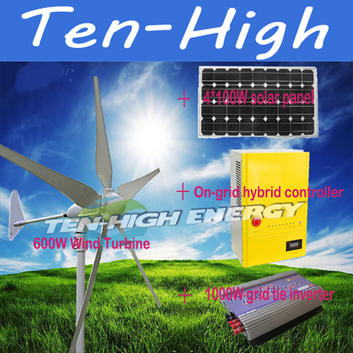 Fedex freeshipping! 600W 48V wind turbine+4*100W solar panel+On-grid hybrid controller+1000W grid tie inverter