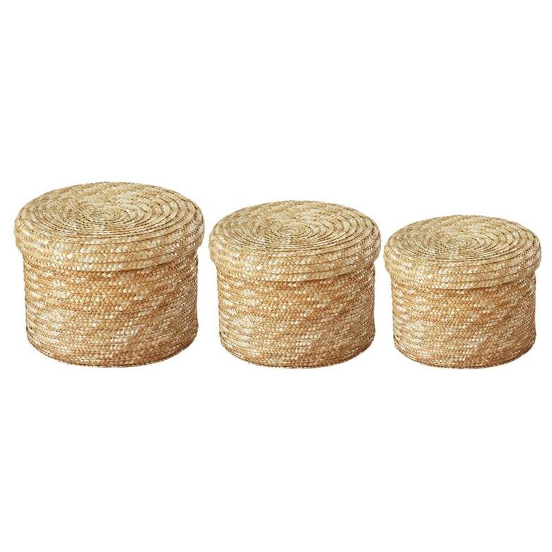 3 Pcs/Set Handmade Straw Woven Storage Basket With Lid Snack Organizer Storage Box Laundry Baskets Rattan Storage Flower Baske 2
