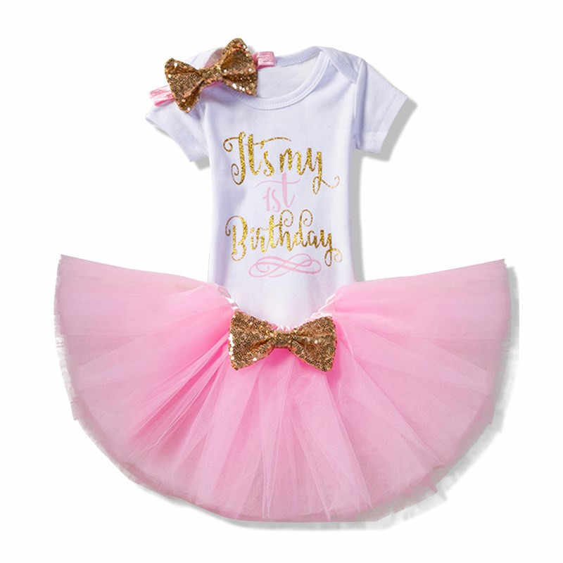 2ad333fb ... Baby Girl First Birthday Outfit Ensemble One Year Little Girl Dress  Clothing Baby Child Summer Clothes