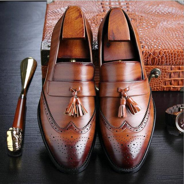 Nuevo Otoño de la manera de la alta calidad hombres brogue planos Retro  tallado mocasines hombres 336140810447