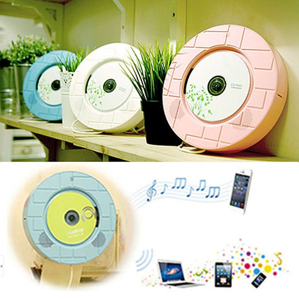 2015 portable mural hanging hifi lecteur cd mp3 audio fm. Black Bedroom Furniture Sets. Home Design Ideas