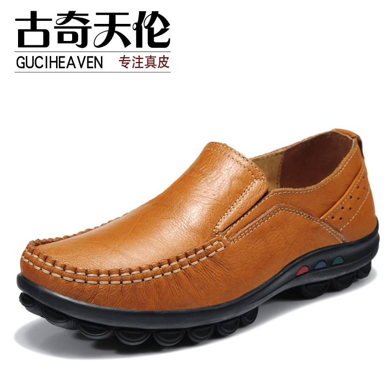 Guciheaven 7790 Autumn Spring Casual Flats,Breathable Full Grain Leather Shoes,Round Toe Ladies' Massage Loafers Shopping Shoes 2016 autumn fashion women full grain leather flat heel white shoes student bling round toe leather brand basic flats loafers