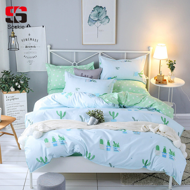 b91c9ff95676 Sookie Cactus Print Bedding Set Twin Full Queen King Size Duvet Cover Sets  Modern Style Bedclothes 3pcs Bed Linen