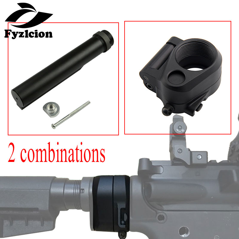 Hunting Accessories Connection 6-Position Stock Pipe Stock Buffer Tube+ M16/M4 SR25 Series GBB(AEG) AR Folding Stock Adapter Sco