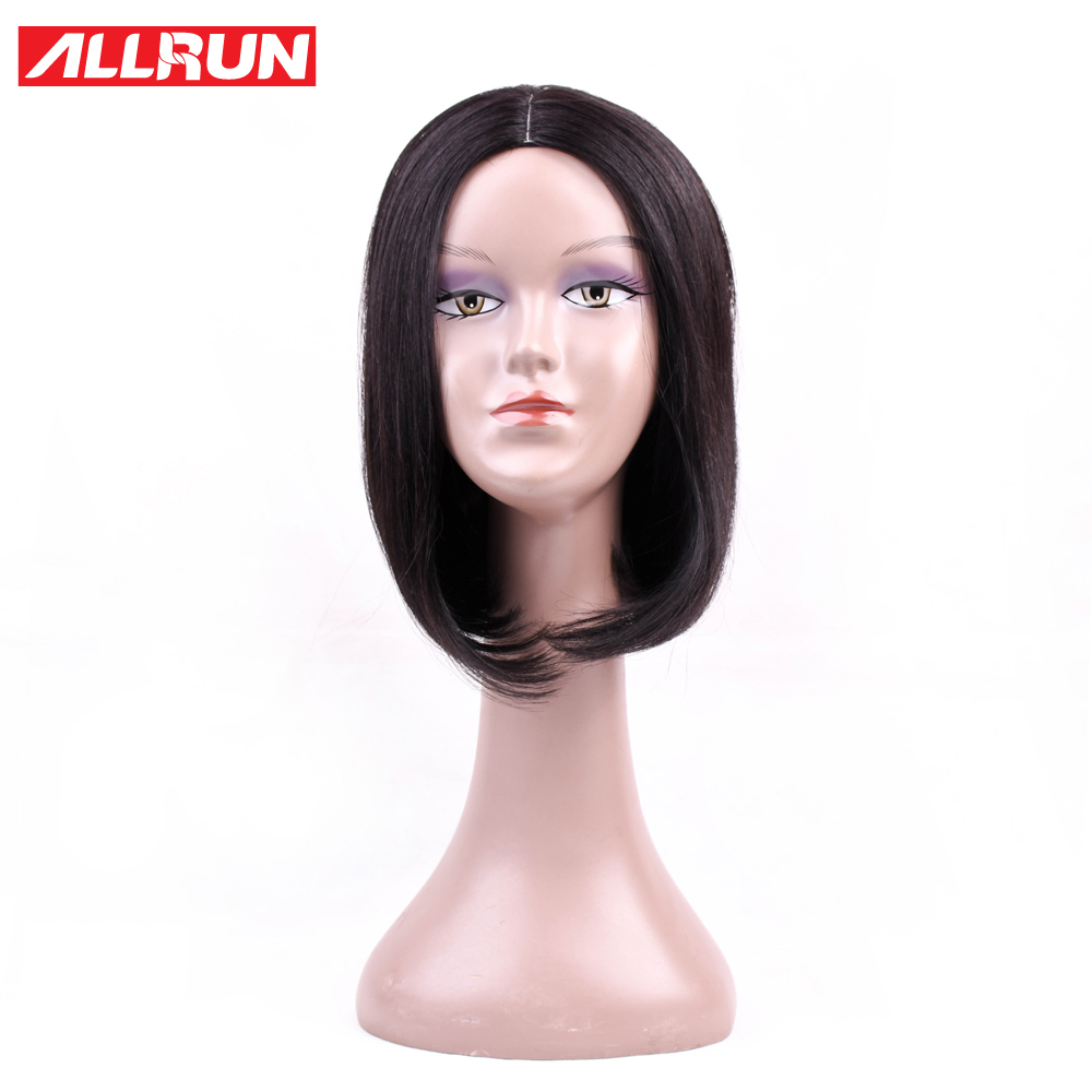 ALLRUN Peruvian Straight Non-Remy Hair Natural Color Bob Wigs Short Machine Human Hair Wigs 130% Density Bob Wigs Free Shipping