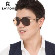 BAVIRON Brand Designer Aviator Sunglasses For Men Polarized Blue Film Inside Driving