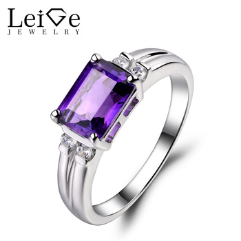 Leige Jewelry Natural Amethyst Ring Emerald Cut Engagement Rings For Woman Sterling Sliver 925 Fine Jewelry February Birthstone