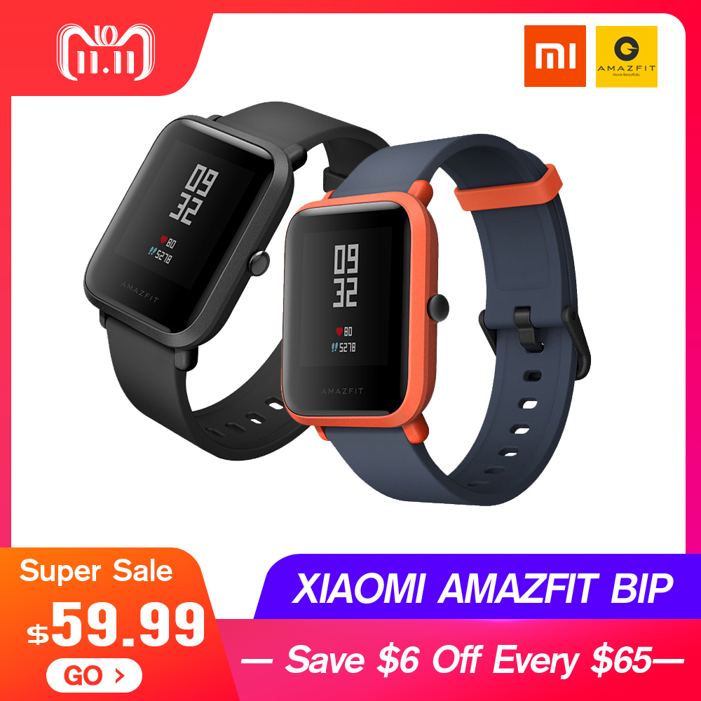 English Version Xiaomi AMAZFIT Bip Huami Sports Smart Watch GPS Gloness Smartwath Waterproof Smartwatch for Mi Fit VS Mi band 3 рубашка bgn bgn mp002xw1gxuk