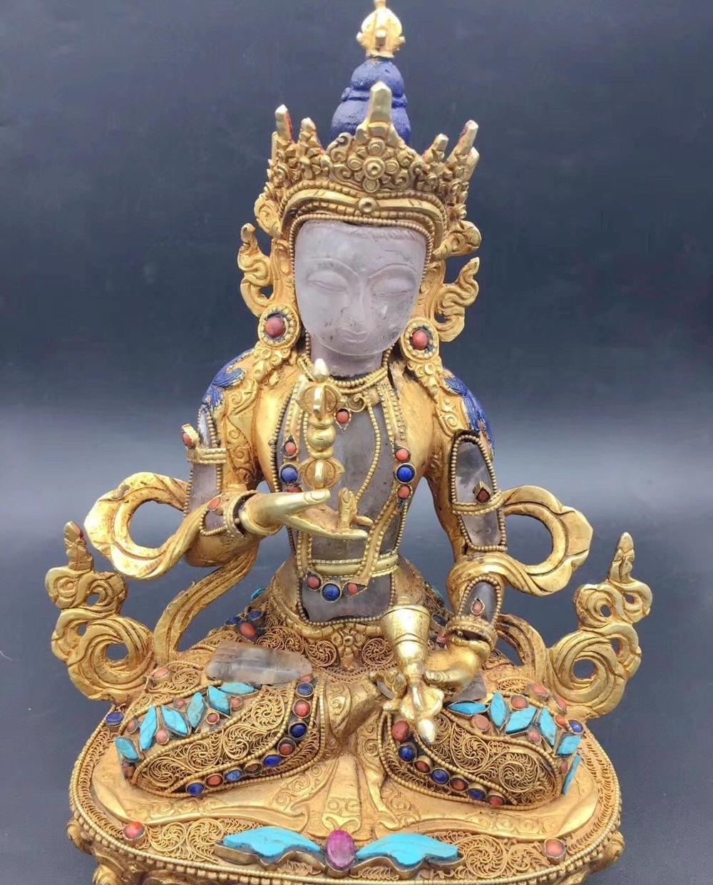 8'' Tibet Nepal Filigree Crystal Inlay Gold Gem Turquoise Vajrasattva Buddha