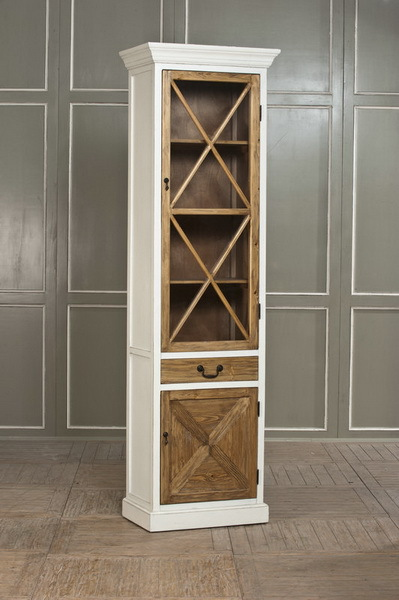Export To Europe French Rustic Wood Furniture Cross The Narrow Gl Door Bookcase Display Cabinet