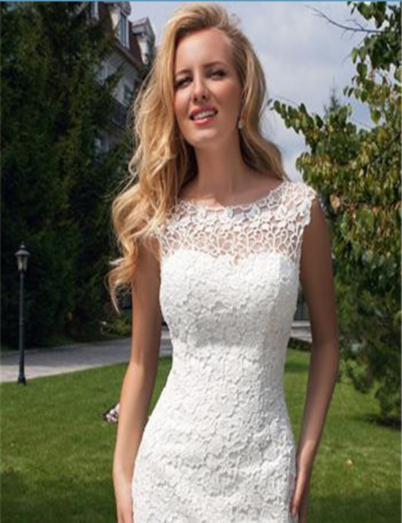 2015 Short Front Long Back Wedding Dress Scalloped Open Back