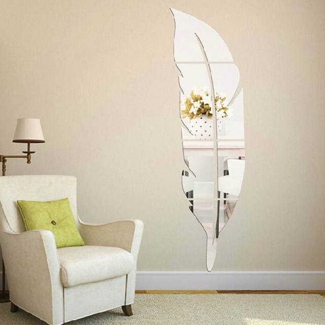 Feather Vinyl Removable Mirror Wall Stickers Wallpaper Mural Decal Art Home Room Decorative Crafts Accessories