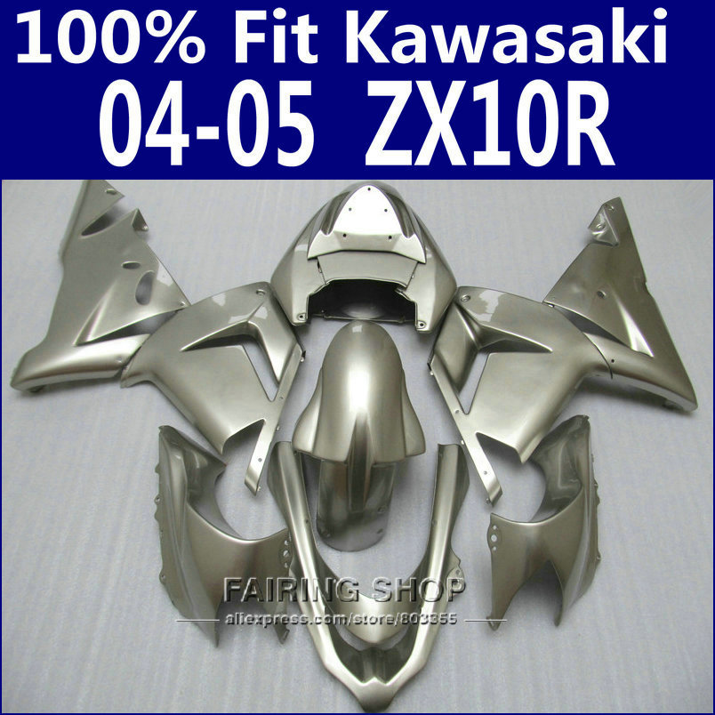 Injection mold For Kawasaki Ninja Fairings Zx10r 2004 2005 04 05 ( Pure silver ) Fairing kit EMS free x66 household product plastic dustbin mold makers