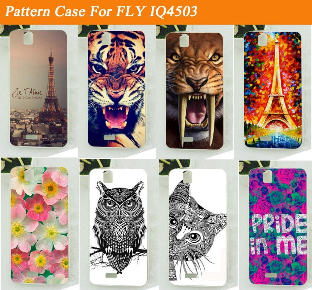 hot 14 Patterns soft tpu case cover for Fly IQ4503 Quad Era Life 6 / Colored Painting skin sheer case cover for Fly IQ 4503