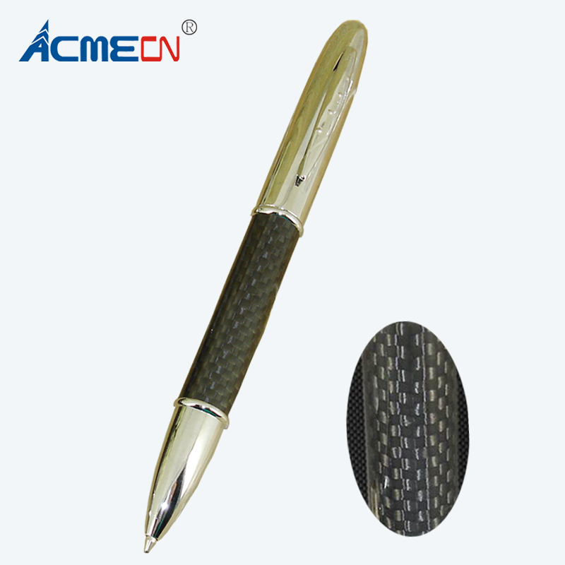 все цены на ACMECN New Classic Retractable Pen Stationery for Father's Day Gifts 2018 Hote Sale Silver & Black Carbon Fiber Ballpoint Pens онлайн