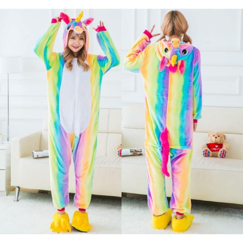 Flannel Animal Family Matching Pajamas Outfits Winter Hooded Pegasus Unicorn Panda Pyjamas Onesie Mother Kids Sleepwear S M L XL