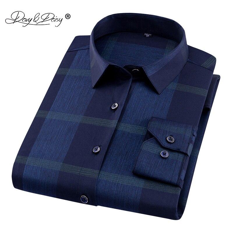 DAVYDAISY 2019 New Arrival High Quality Men's Shirt 100% Polyester Fiber Long Sleeve Print Man Dress Shirt Men Brand DS224