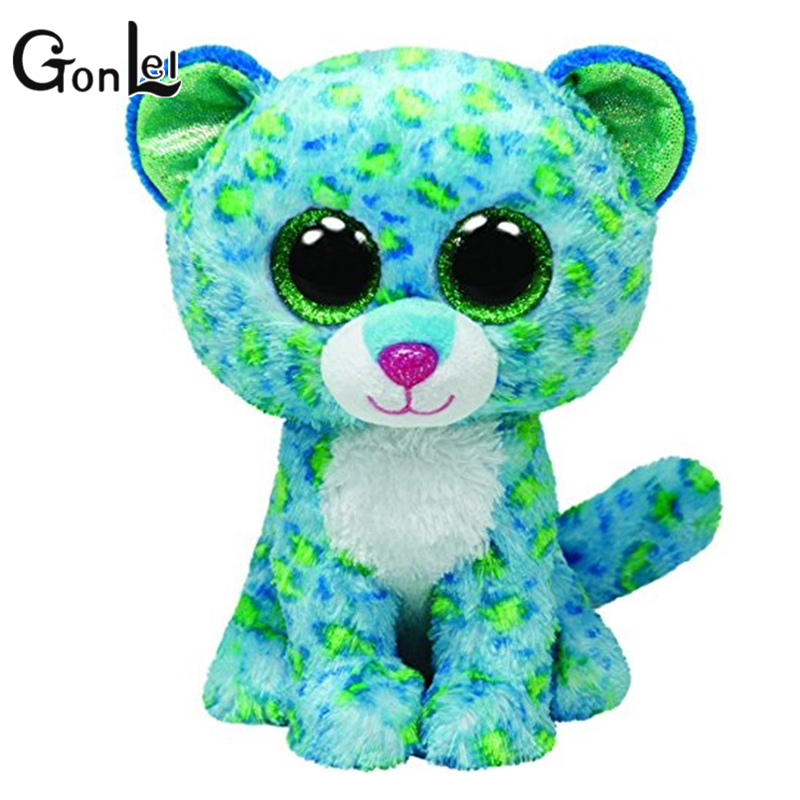 GonLeI Ty Beanie Boos Kids Plush Toys Big Eyes Leona Blue Leopard Lovely Children's Christmas Gifts Kawaii Cute Animals Dolls new beanie boos scoop white snowman plush animals 6 15cm ty big eyes stuffed animal cute soft toys for children kids gifts