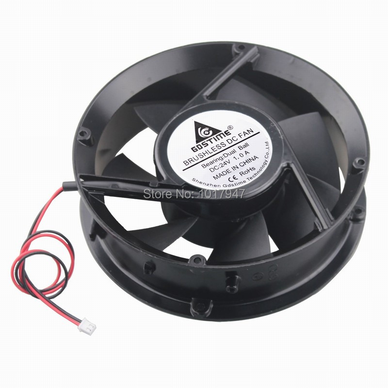 2PCS lot Gdstime DC Cooler Cooling Industrial Fan Ball 24V 2Pin 17251 170mm 172x51mm 2 pcs gdstime tow ball bearing 48v 170mm x 50mm circle cooler metal case industrial dc cooling fan 172mm x 51mm 2pin 17cm 17251