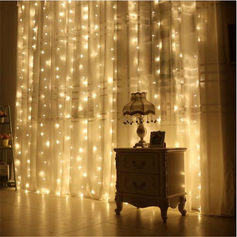 2X2M Christmas Garlands 180LED String Christmas Net Lights Fairy Xmas Party Garden Wedding Decoration Curtain Lights in Holiday Lighting from Lights Lighting