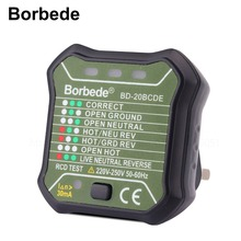 цена на Borbede GFCI Outlet Tester Power Socket Automatic Electric Circuit Polarity Voltage Detector Wall Plug Breaker Finder