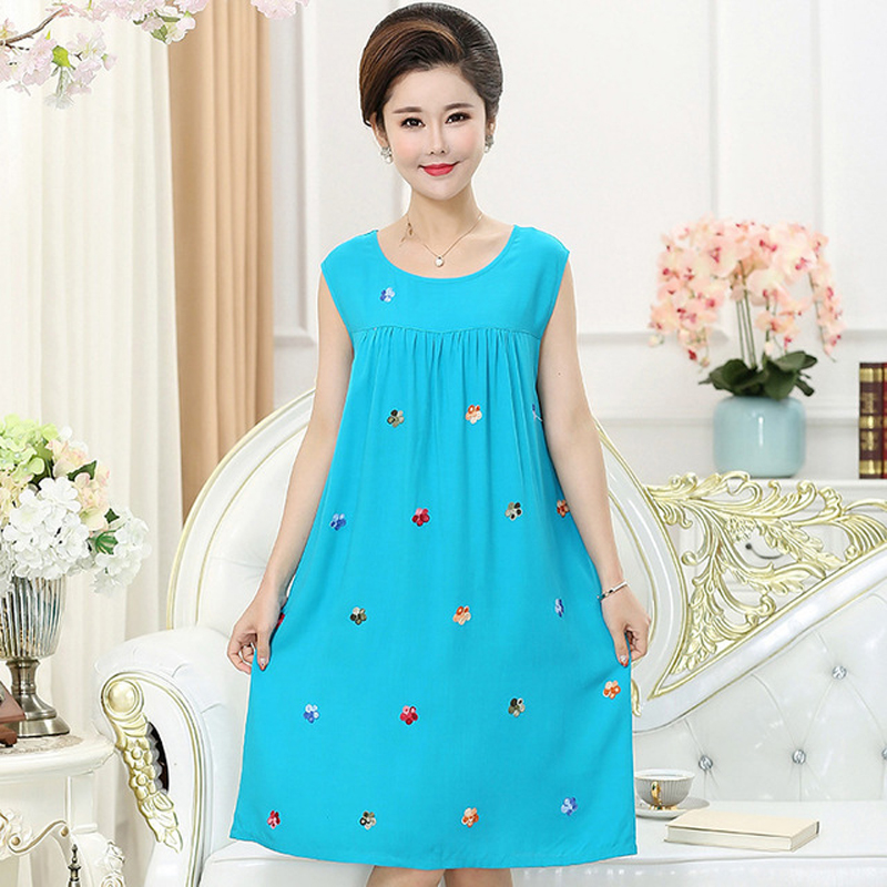 Plus Size 3XL New Women Embroider Floral   Sleepshirt   Comfortable Sleeveless   Nightgown   Loose Cotton Linen   Sleepshirt   Sleepwear
