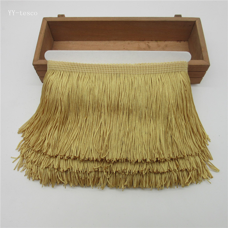 10Yards 10cm Wide Lace Fringe Trim Tassel Tyrant Gold Fringe Trimming For DIY Latin Dress Stage Clothes Accessories Lace Ribbon