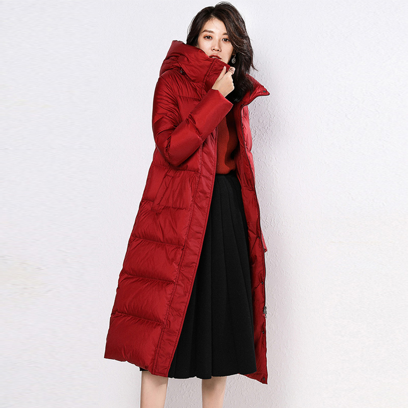 Winter Jacket Women Long Parka Thick Duck   Down     Coat   2019 Solid Hooded Warm Parkas Winter   Coat   Women Snow Waterproof Outwear