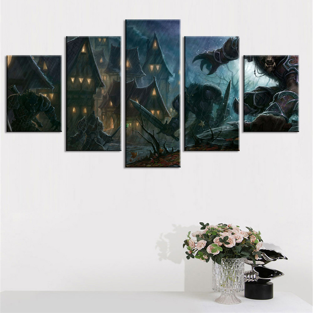 Wall Art Picture Home Decoration Posters 5 Pieces Game Fiery Dragon Game Frame Living Room HD Printed Modern Paint Abstract