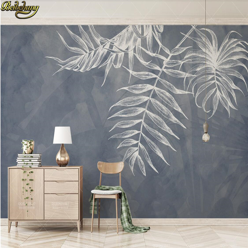 beibehang Cement gray wall European leaves <font><b>wallpaper</b></font> mural <font><b>3d</b></font> <font><b>car</b></font> wall <font><b>wallpaper</b></font> ktv bar restaurant TV background wall painting image
