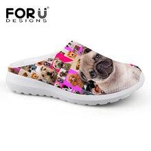 cee47280208e FORUDESIGNS Sandals Cute Pink Pug Dog Pattern Fashion Women s Sandals  Summer Home Flats Slip-on