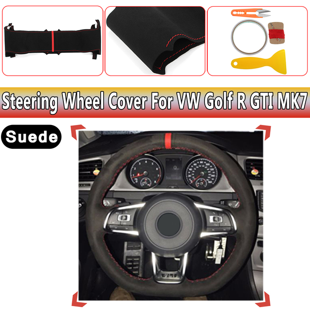 Suede Leather Steering Wheel Hand Stitch On Wrap Cover For Vw Golf