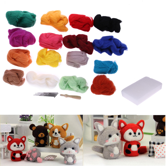 16 Colors Wool Felt Tool With 9 Needle Tool Set Felting Mat Starter Kit DIY Art Handwork Doll Crafts Home Sewing Tools