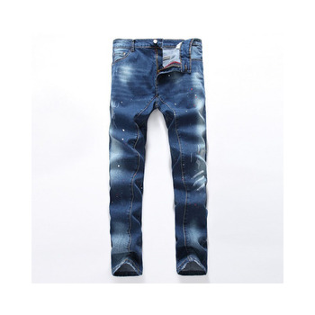 Fashion hot brand name Europe and the United States splash ink men's jeans stretch Slim wear pocket decoration harem pants men men s personality painted jeans on the streets of europe and the united states men s pierced straight tube distressed jeans