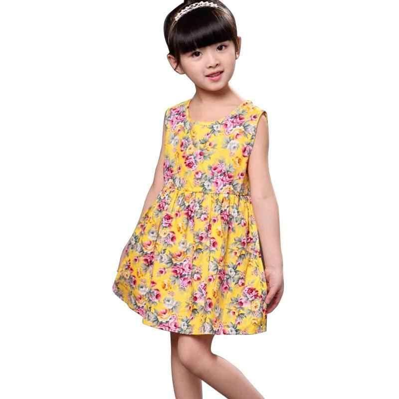 2019 キッズガールズサマードレス O ネックノースリーブ花柄 A ラインかわいい王女女の赤ちゃんのクリスマス