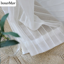 Innermor Pleat strips Curtains For Living room white tulle for kitchen Voile Faux Linen Sheer for bedroom Window Customized(China)
