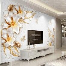 Купить с кэшбэком Beibehang 3D Wallpaper Living Room Bedroom Mural Gold High Level Embossed Diamond Flower Jewelry Background  papel de parede