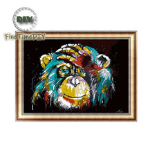 FineTime 5D DIY Diamond Embroidery Orangutan Monkey Partial Drill Animals Diamond Painting Cross Stitch Mosaic Painting finetime lucky fish 5d diy diamond painting partial drill diamond embroidery cross stitch animals mosaic painting